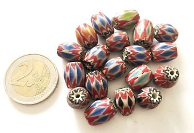 Lot 19 Old Islamic Chevron Hand Carved Glass Beads - Handmade