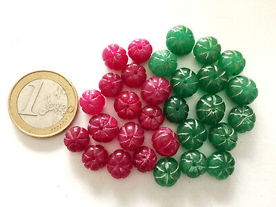 Lot 30 Natural Ruby and Emerald Handmade Carved Melon Beads - Cuentas Abalorios