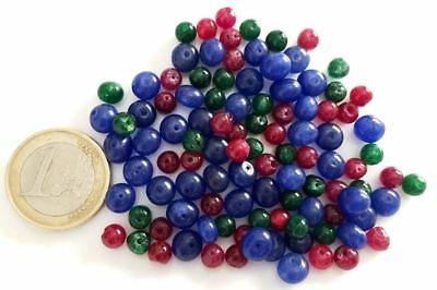 Lot 130 Natural Ruby Emerald Sapphire Hand Carved Round Beads - Handmade Cuentas