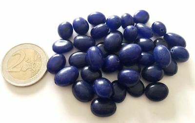 Lot 38 Big Natural Sapphire Hand Carved Oval Beads - Handmade