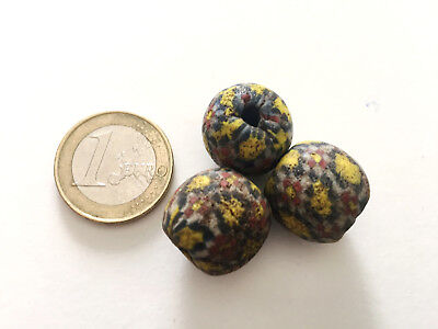 Lot 3 Ancient Islamic Mosaic Beads - Handmade from Pakistan