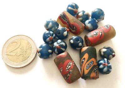 Lot 16 Old Tibetan Hand Carved Glass Beads - Handmade