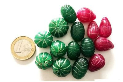 Lot 15 Big Natural Ruby and Emerald Handmade Carved Beads - Cuentas Antigua