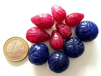 Lot 10 Big Natural Ruby and Sapphire Handmade Carved Beads - Cuentas Antigua