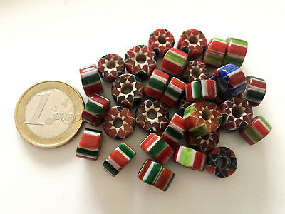 Lot 32 Old Tibetan Chevron Glass Beads - Handmade