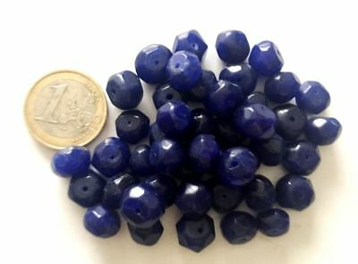 Lot 45 Natural Sapphire Hand Carved Faceted Beads - Handmade
