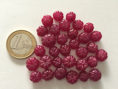 Lot 32 Natural Ruby Handmade Carved Melon Beads - Cuentas Antigua Abalorios