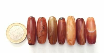 Lot 7 Old Tibetan Natural Agate Handmade Carved Prayer Beads - Cuentas Antigua