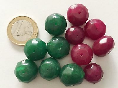 Lot 12 Big Natural Ruby Emerald Hand Carved Faceted Beads - Cuentas Abalorios