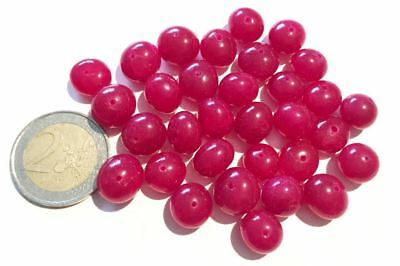 Lot 32 Natural Ruby Hand Carved Round Beads - Handmade