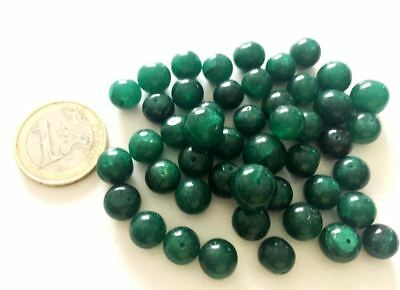 Lot 46 Natural Emerald Hand Carved Beads - Handmade - Cuentas Abalorios Antiguo