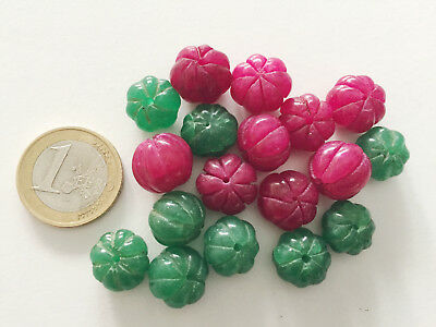 Lot 18 Big Natural Ruby and Emerald Hand Carved Melon Beads - Cuentas Abalorios
