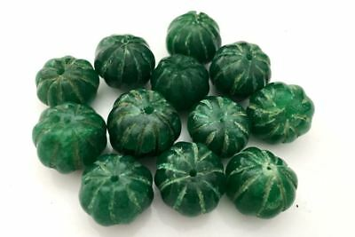 12 Big Natural Emerald Handmade Carved Melon Beads - Cuentas Antigua Esmeraldas