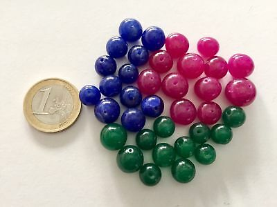 36 Natural Ruby Emerald Sapphire Handmade Carved Round Beads - Cuentas Antigua