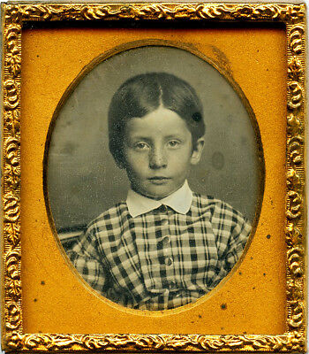 Lovely Sixteenth Daguerreotype of Young Boy in Button-Down Shirt w/ Parted Hair