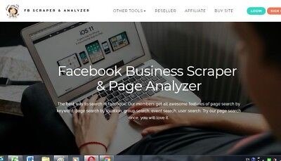 F B Business Scraper & Page Analyzer website for sale Work from home