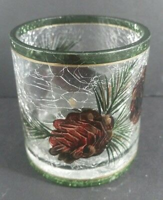 Yankee Candle PINE CONE Crackle Glass Votive/ Tea Light CANDLE HOLDER