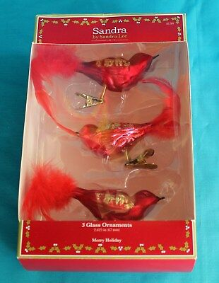 Red Birds Glass Christmas Ornament Clip Ons Lot of 3 by Sandra Lee Feather
