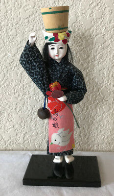 VTG Asian Art Doll Mandarin Painted Cloth Dress Chinese 60's Oriental NOS 8""