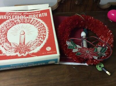Vintage Sparkling Lighted Christmas Cellophane Wreath With Box