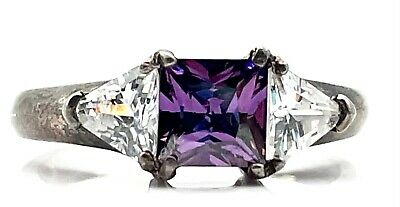Sterling Silver 925 Oxidized Princess Cut Purple Amethyst CZ Cocktail Band Ring