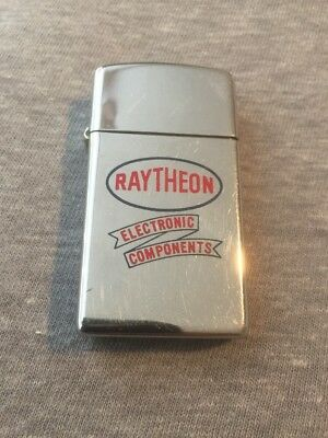 Vintage 1960 New Old Stock Slim RAYTHEON ELECTRONIC advertising Zippo Lighter