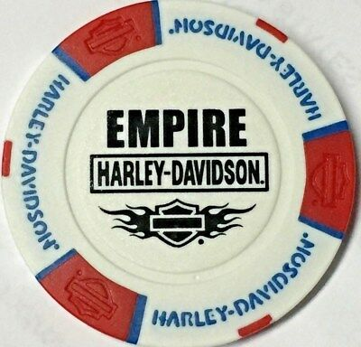 Harley Poker Chip   EMPIRE HD  in NEW ROCHELLE, NY     RED, WHITE & BLUE