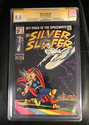 Silver Surfer #4 (Marvel - 2/1969) CGC 8.5 VF+ OW/W Classic Thor / Silver Surfer