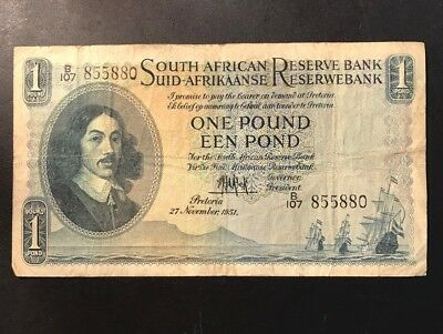 SOUTH AFRICA 1 POUND banknote (One Pound) 27-11-1951 PICK # 93d November 27 1951