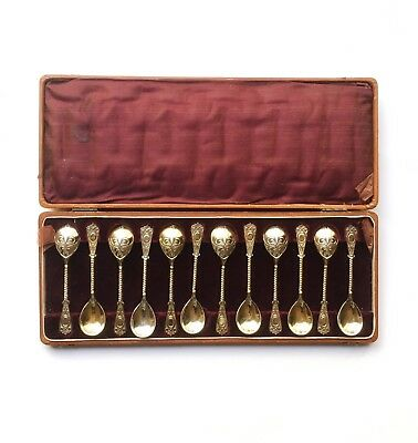 Set 12 Antique Russian Gold Wash Sterling Silver Demitasse Spoons w Box Pre 1917