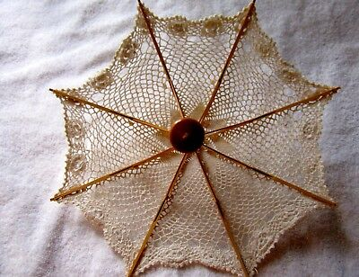 """Vintage Small Wooden Umbrella w/Crocheted Cover - 12"""" Tall, 13"""" Open"""
