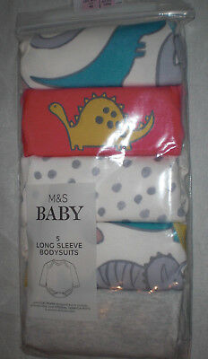 M&S Tiny Baby 6lb 6oz pack of 5 Long sleeve Bodysuits Pink/grey dinosaurs