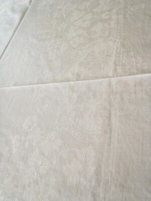 "Antique Pure linen Irish Damask Tablecloth with garlands 64"" x 42"""