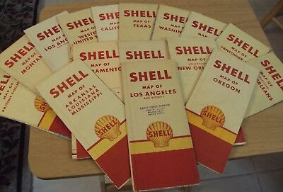 "VTG # 6 Lot of 'GAS & OIL' Company ROAD MAP~""SHELL OIL CO""~City & State MAPS~"