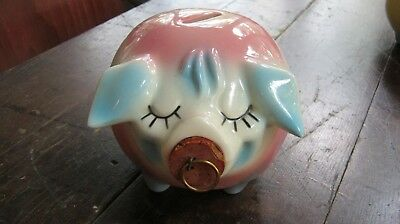 Hull Pottery CORKY PIG 1957 Piggy Bank with Cork Stopper pink & blue EXCELLENT!