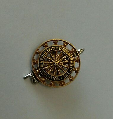 Vintage Dar Daughters Of The American Revolution Pin 14K Gold