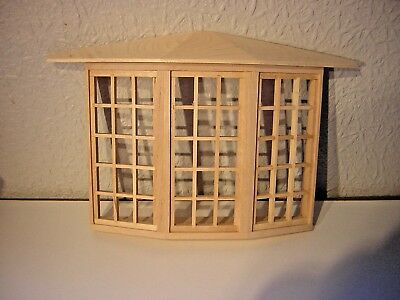 1/12th Dollshouse Miniature De Luxe 45 pane Bay Window with perspex