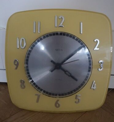 vintage retro Smiths 1960s Yellow Sectric electric kitchen WALL CLOCK