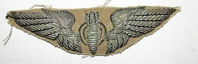 Silver Bullion Ww2 Bombardiers Wing Patch United States Army Air Force