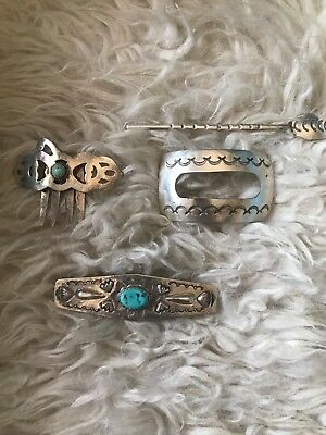 Lot Silver Native American Hair Accessories incl. Turquoise and Willie Shaw