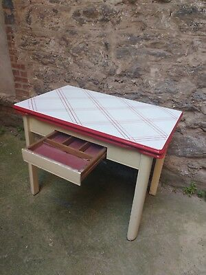 Vintage 1940-1950's metal enamel top kitchen table