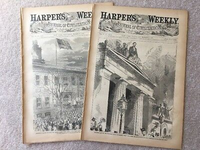 Harpers Weekly March 1861 LOT OF 2 Abraham Lincoln Inauguration Authentic FULL