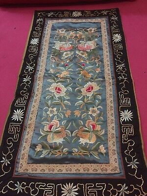 Antique Chinese Embroidery Forbidden Stitch Silk Textile Rare Panel
