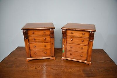pair of small Victorian mahogany wellington chests collectors chests