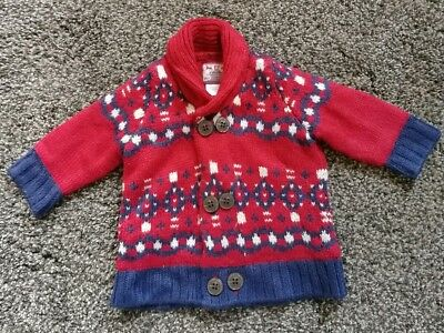 Mamas and Papas Newborn Baby Cardigan Size Newborn Red Navy