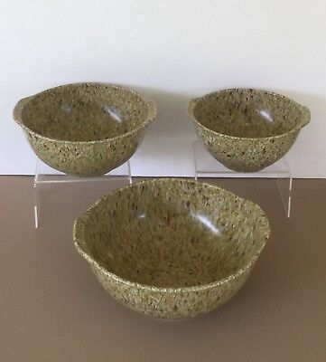 Set Of 3 UNMARKED Texas Ware Splatter Speckled Nesting Bowls