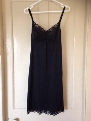 Petticoat Slip Dress Nightie Size 10. Black Recycled Petticoat Slip.