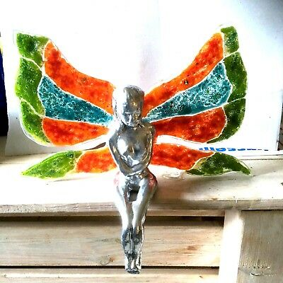 Window Hangin Angel Girl Glass Fused Handmade Stained  Art And Ceramic VINTAGE
