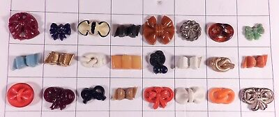 Lot 24 Realistic Goofie Buttons Plastic, Celluloid -  Bows Ribbons Knots