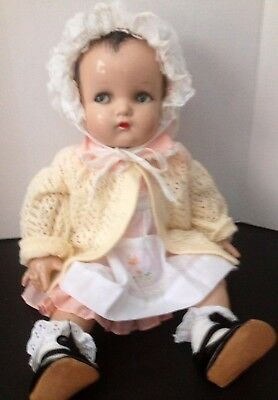 "Antique Vtge Composition/cloth 22"" MADAME ALEXANDER Baby Doll Flirty Eyes Nice"
